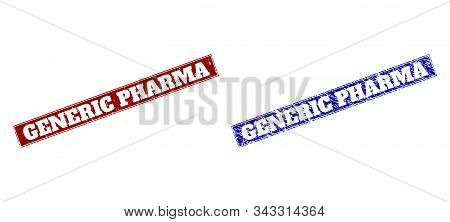 Rectangle Generic Pharma Watermarks. Blue And Red Distress Watermarks With Generic Pharma Phrase Ins