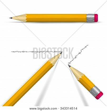 Writing Realistic 3d Vector Pencil Set. Sharpened Orange Pencils With Eraser. Two Tipped Pencils Wit