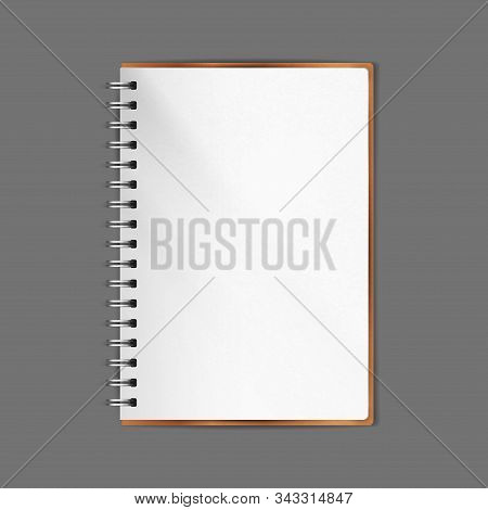 Spiral Notebook. Realistic Vector Illustration. Diary, Organizer Open Page. Textured Paper. A5 Size