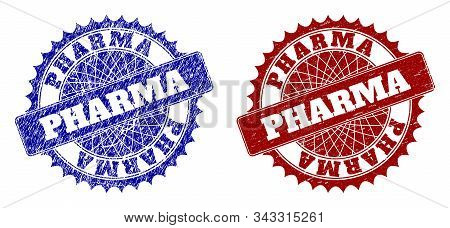 Rounded Pharma Seal Stamps. Blue And Red Scratched Seal Stamps With Pharma Text Inside Rounded Roset
