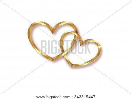 Marriage Rings. Two Golden Interlocking Hearts, Isolated
