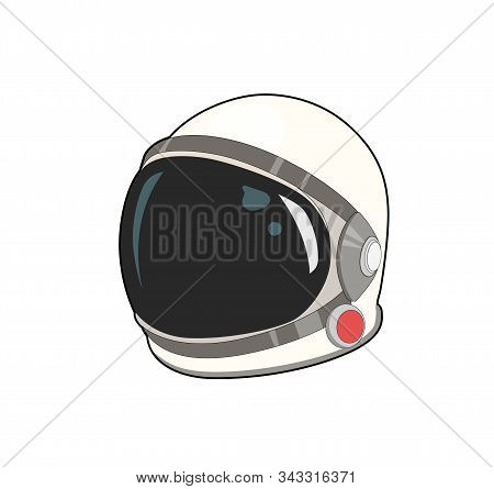Spacecuit For Astronaut. Cosmonaut Helmet. Vector Graphic Illustration. Isolated