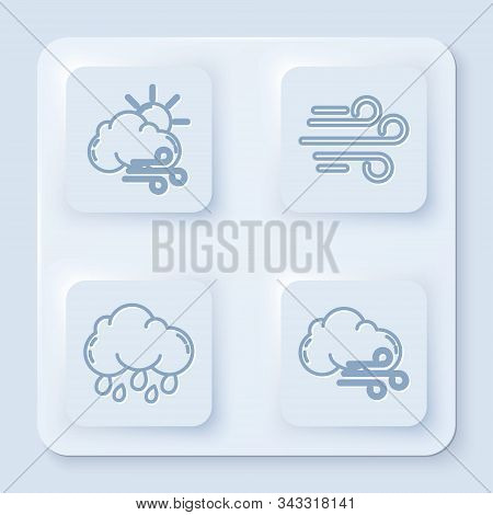 Set Line Windy Weather, Wind, Cloud With Rain And Windy Weather. White Square Button. Vector