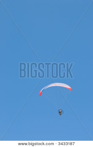 Motorized Paraglider, Red And Blue Wing
