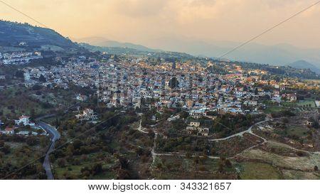 Aerial Panorama Of Old Village Pano Lefkara. Famous Landmark Of Valley Pano Lefkara Village, Larnaca