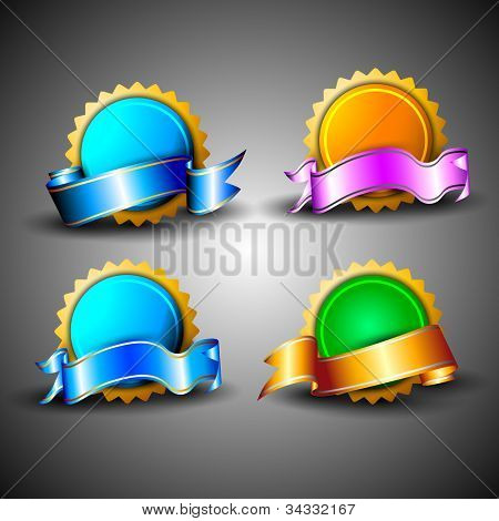 Abstract 3D glossy icon sets in blue, green and yellow color with ribbons, isolated on grey with text space.EPS 10. can be use as icons, element, banner or background.