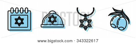 Set Line Star Of David Necklace On Chain, Jewish Calendar With Star Of David, Jewish Kippah With Sta