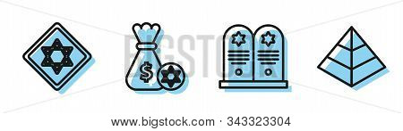 Set Line Tombstone With Star Of David, Star Of David, Jewish Money Bag With Star Of David And Coin A