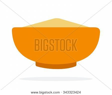 Grain Cous Cous In An Orange Dish Flat Isolated