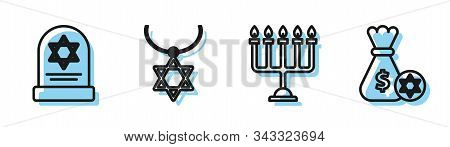 Set Line Hanukkah Menorah, Tombstone With Star Of David, Star Of David Necklace On Chain And Jewish