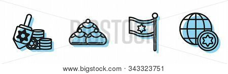 Set Line Flag Of Israel, Hanukkah Dreidel And Coin, Jewish Sweet Bakery And World Globe And Israel I