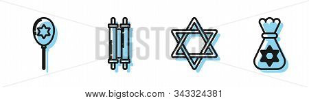 Set Line Star Of David, Balloons With Ribbon With Star Of David, Torah Scroll And Jewish Money Bag W