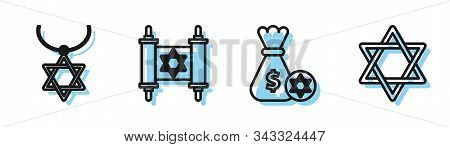 Set Line Jewish Money Bag With Star Of David And Coin, Star Of David Necklace On Chain, Torah Scroll