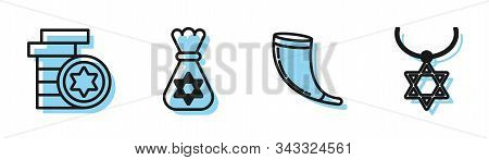Set Line Traditional Ram Horn, Shofar, Jewish Coin, Jewish Money Bag With Star Of David And Star Of