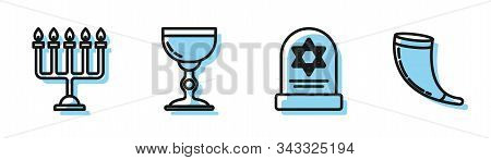 Set Line Tombstone With Star Of David, Hanukkah Menorah, Jewish Goblet And Traditional Ram Horn, Sho