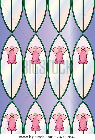 Stained Glass Tulips Seamless Tile