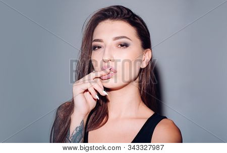 Girl With Perfect Face Skin. Trendy Makeup. Makeup Cosmetics. Pretty Girl With Sexy Look. Sexy Woman