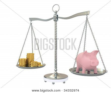 Piggy And Gold Coins On The Scale