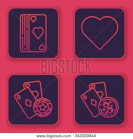Set Line Deck Of Playing Cards, Casino Chip And Playing Cards, Playing Card With Heart Symbol And Pl