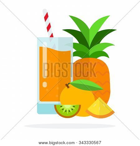 Multivitamin Juice In A Glass, Pineapple, Apricot, A Piece Of Kiwi And A Slice Of Pineapple Flat Iso