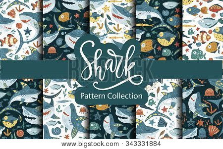 Seamless Vector Pattern Set With Cute Cartoon Funny Shark Fish In A Flat Style. Cheerful Kid Underwa