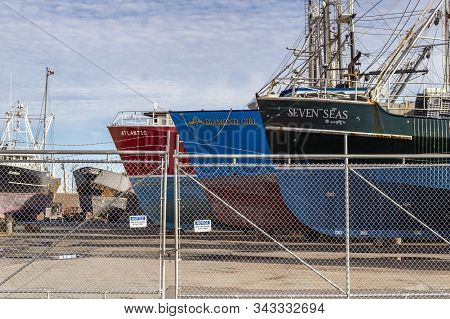 Fairhaven, Massachusetts, Usa - September 8, 2019: Thicket Of Commercial Fishing Boats Hauled Out Fo