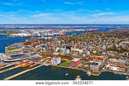 Aerial View Of Port Newark In Bayonne Reflex