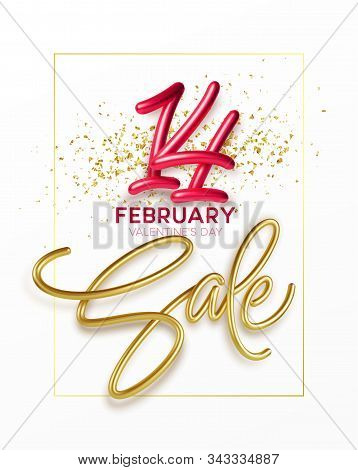 Advertising With Sale Golden Lettering. Valentines Day Holliday Poster. Shopping Promotion Design. R
