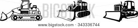 Bulldozer Icon Isolated On White Background Vector, Vehicle, Work