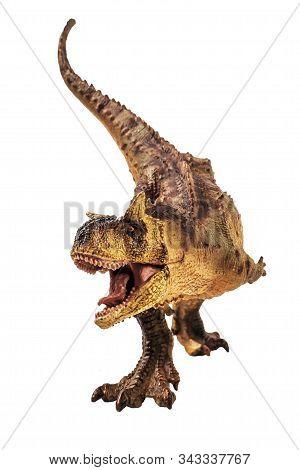 Carnotaurus  Dinosaur On White Background   .  Isolated Background