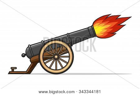 Old Cannon Firing. Shooting Vintage Canon Gun, Vector Ancient Weapon Explosion, Antique Military Sym