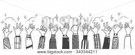 Doodle Thumbs Up Hands. Applause And Cheers Teamwork Vector Illustration, Happy People Celebration H
