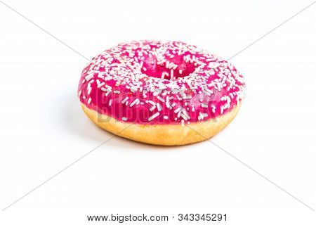 Sweet Pink Donut Isolated On White Background