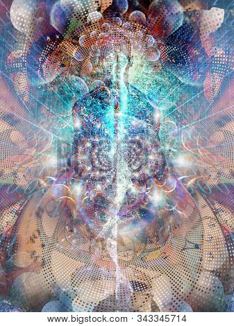 Digitized Soul. Spirit emerges from binary code space. 3D rendering