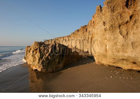 Anastasia Limestone Outcropping In Blowing Rocks Preserve On Jupiter Island, Florida On Clear Cloudl