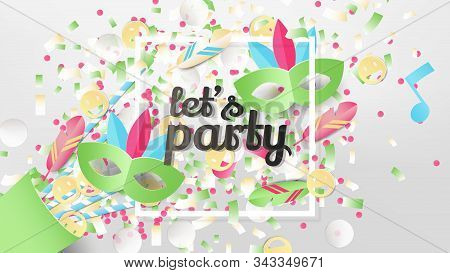 Exploding Party Confetti Popper With White Square Frame, Paper Art/paper Cutting Style, Rio Carnival
