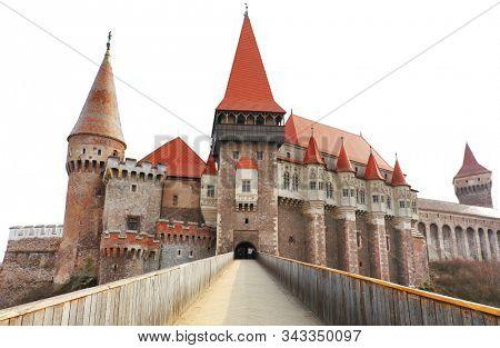Corvin Castle (Hunyadi Castle or Hunedoara Castle), Gothic-Renaissance castle, Hunedoara, Romania. Beautiful view with wooden bridge and high tower