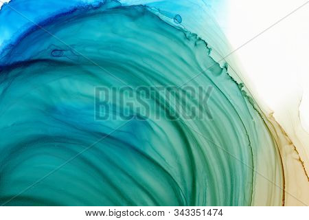 Bright Blue, Ocher And Green Watercolor Texture Background. Hand Drawn Orange Smears, Splashes Abstr