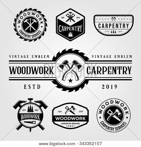 Set Of Carpentry Woodwork Vintage Logo Craftsman Vector Illustration Design