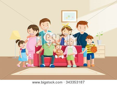 Warm Big Family Portrait With Blurred Background. Grandfather, Grandmother And Baby Sitting On The S