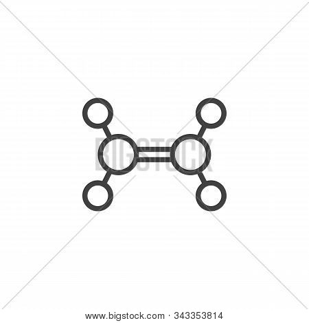 Ethylene Molecule Structure Line Icon. Linear Style Sign For Mobile Concept And Web Design. Trigonal