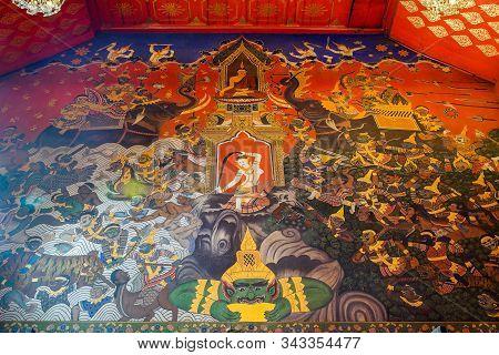 Ayuthaya, Thailand - November 29, 2019: Beautiful Mural Art Wall Painting In Wat Phananchoeng Worawi