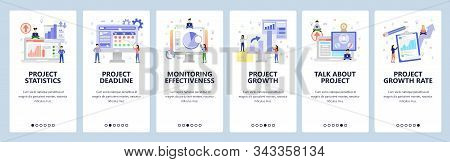 Business Isometric Icons, Project Analytics, Financial Chart, Deadline, Conference Call. Mobile App