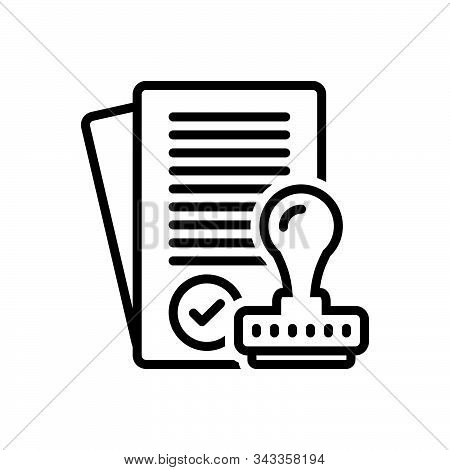 Black Line Icon For Assumptions Approve Satisfied Allow Permit Assent Imprimatur