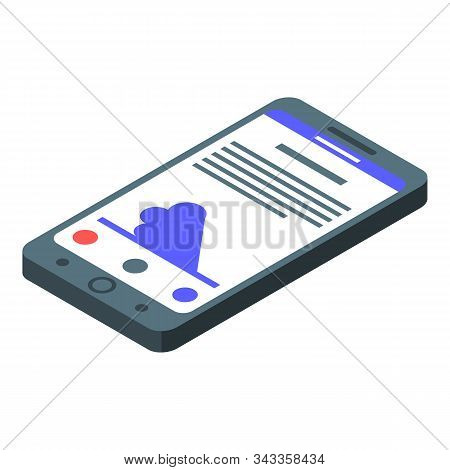 Smartphone Tsunami Alert Icon. Isometric Of Smartphone Tsunami Alert Vector Icon For Web Design Isol