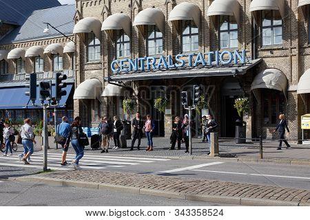 Gothenburg, Sweden - September 2, 2019: Pedestrians At The Crosswalk Outside The Gothenburg Central