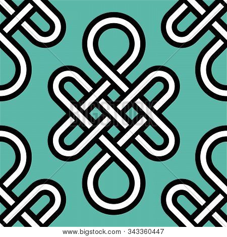 Seamless Mystical Knot Of Longevity And Health, Sign Good Luck Feng Shui, Vector The Infinity Knot,
