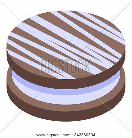 Chocolate Creamy Cookie Icon. Isometric Of Chocolate Creamy Cookie Vector Icon For Web Design Isolat