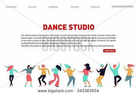 Dance Studio Landing Page. Vector Dancing People Illustration. Dancing Studio Rehearsal. Young Men A