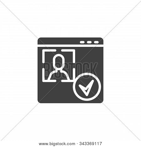 Account Id Verification Vector Icon. Facial Recognition Filled Flat Sign For Mobile Concept And Web